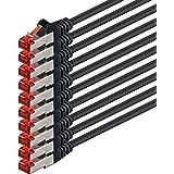2m - noir - 10 pièces - CAT6 Câble Ethernet Set - Câble Réseau RJ45 | 10 / 100 / 1000 Mo/s | câble de Patch | LAN Câble |CAT 6 | S-FTP | double blindage | PIMF | 250 MHz | sans halogène | compatible avec CAT 5 / CAT 6a / CAT 7 | pour le switch, routeur, modem, Patchpannel, point d'accès, panneaux de brassage