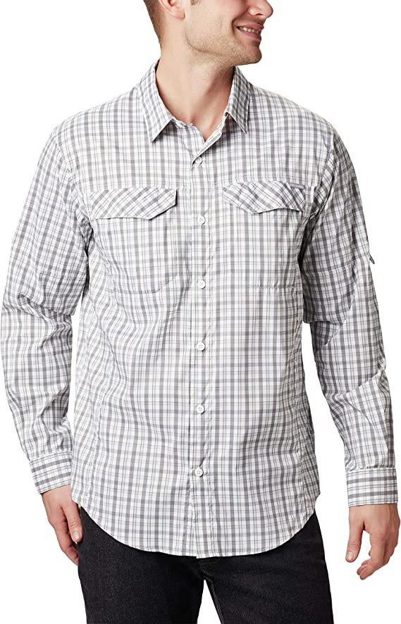 Quick Dry Sun Protection Columbia Mens Extended Silver Ridge Lite Plaid Long Sleeve Shirt