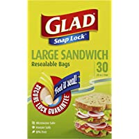 Glad Glad Snaplock Resealable Large Sandwich Bags, 30 count