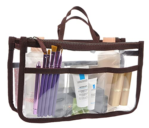 Printed Purse Insert Organizer,13 Pockets in Handbag Liner Bag In Bag with Zipper and Handles
