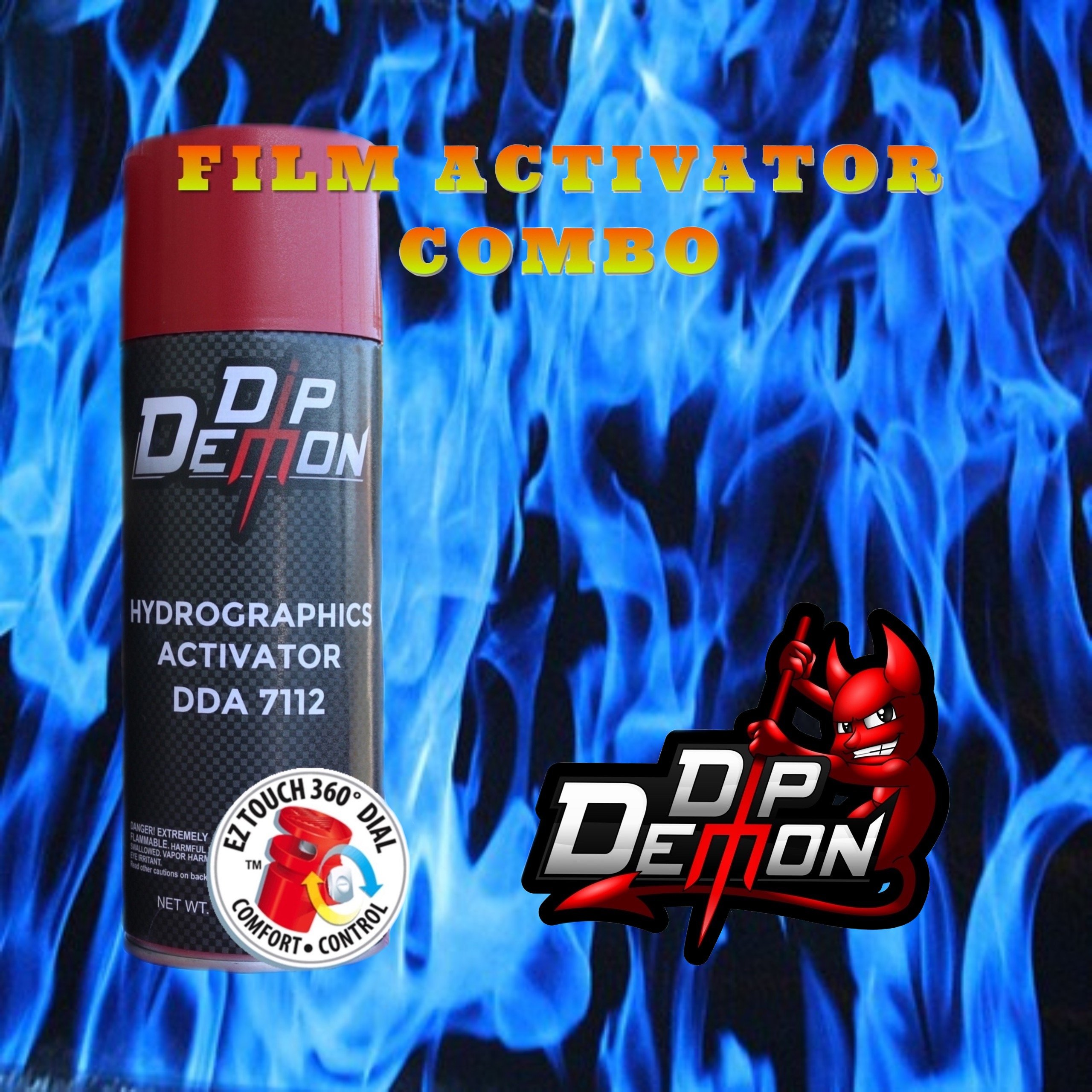 Combo Kit Blue Flames Hydrographic Water Transfer Film Activator Combo Kit Hydro Dipping Dip Demon by DIP DEMON