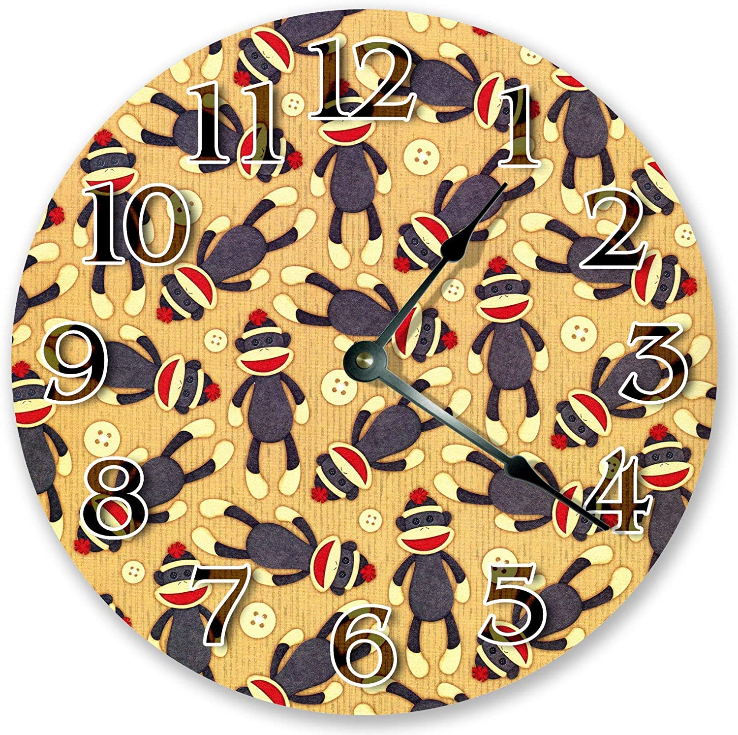 Sock Monkeys Large Wooden Wall Clock Nursery Decor Modern Round Wall Clock with Large Numbers