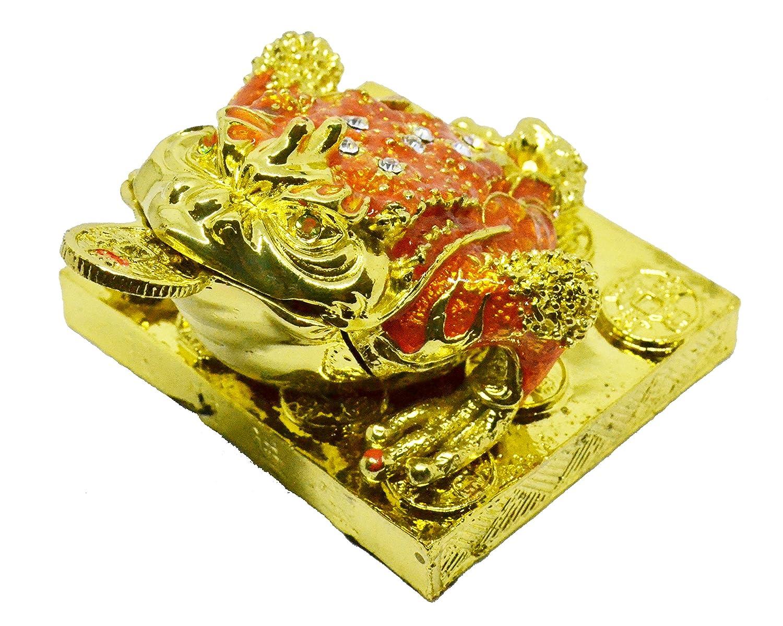 入魂済 金運アップ 幸運の置物 銭蛙 三脚蟾蜍 カエル 置物 風水 開運 金運 グッズ グッツ 飾り物 天然石さざれ 物入れ (赤) B07B67JVNP 赤 赤