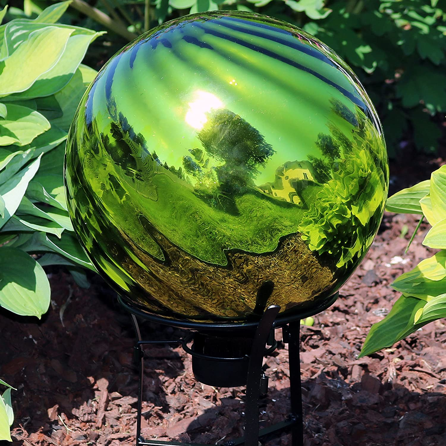 Outdoor Lawn and Yard Ornament 10-inch Sunnydaze Green Rippled Gazing Globe Glass Garden Ball Reflective Mirrored Surface Set of 2