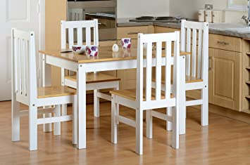 Seconique Ludlow Dining Set - White and Oak - Dining Table and 4 Slatted Highback & Seconique Ludlow Dining Set - White and Oak - Dining Table and 4 Slatted Highback Chairs