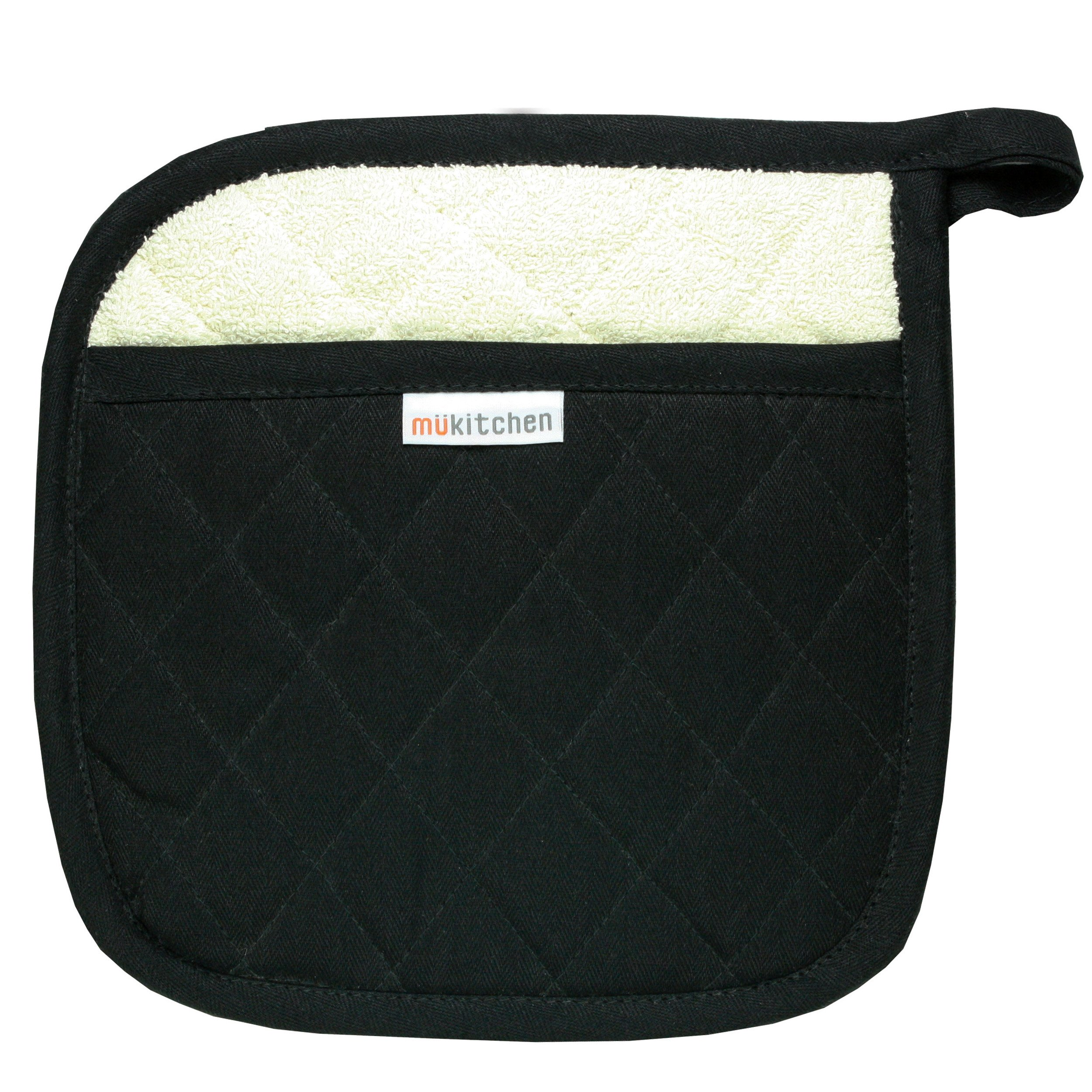 MUkitchen 100% Quilted Cotton Pot Holder, Onyx - Set of 2