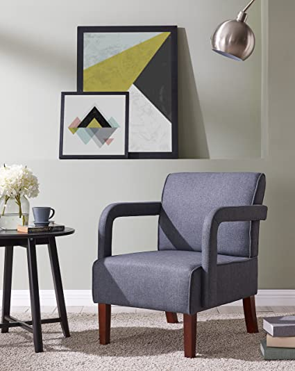 Phenomenal Ids Modern Fabric Arm Chair With Wood Leg Accent Chair Single Sofa For Living Room Bedroom Dark Grey Machost Co Dining Chair Design Ideas Machostcouk