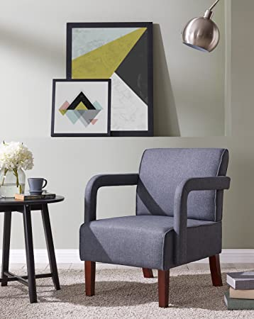 Amazon.com: IDS Modern Fabric Arm Chair with Wood Leg, Accent Chair ...