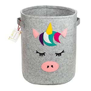 Unicorn Felt Storage Basket - Nursery Decor for Girls - Unicorn Hamper for Girls Bedroom - Girls Hamper - Unicorn Laundry Hamper - Girls Room Decor - Baby Girl Laundry Basket - Baby Clothes Hamper