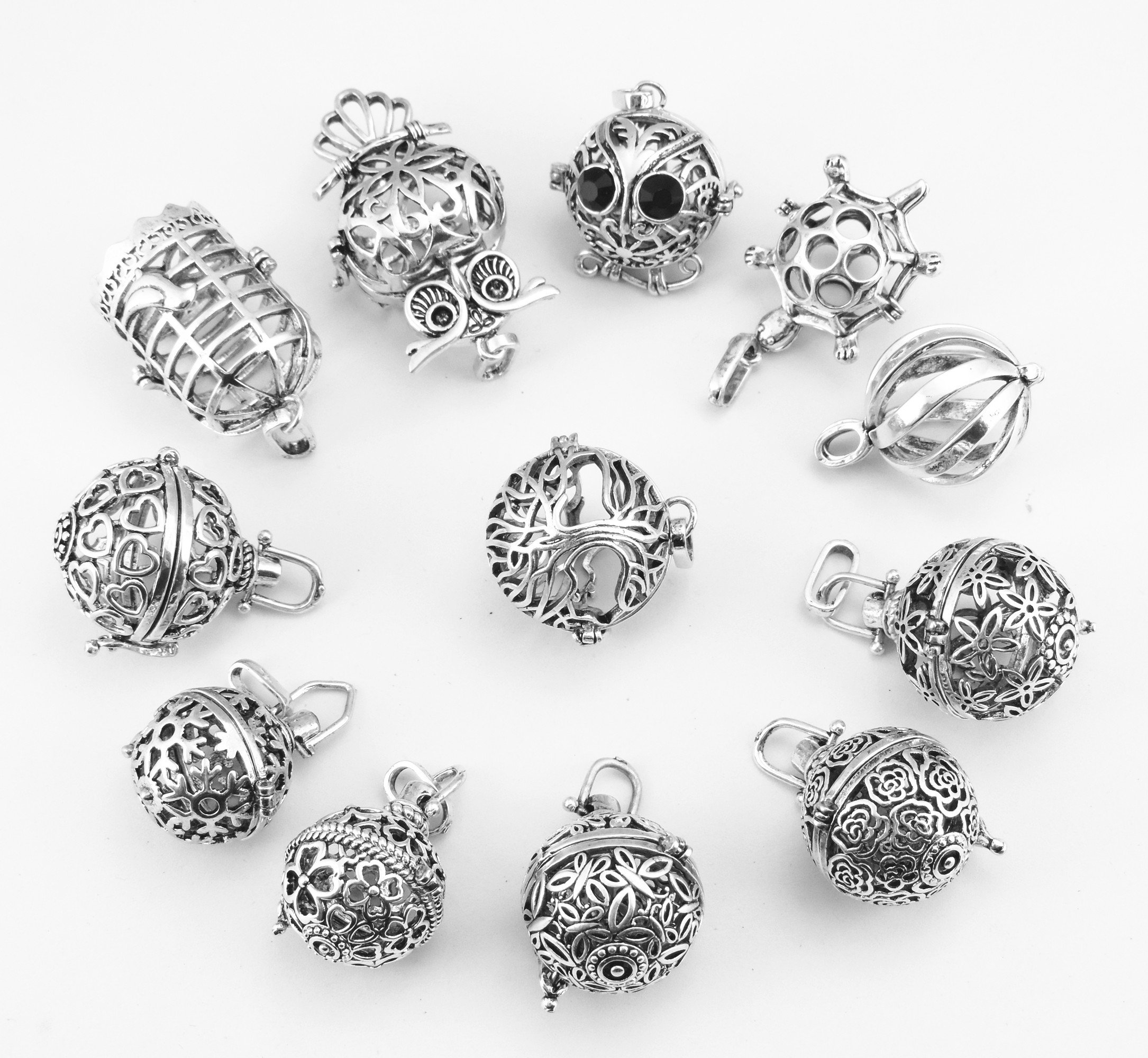 Yaoding 12pcs Mix Hollow Bird Cage Owl Tree Tortoise Ball Locket Lava Stone Perfume Fragrance Essential Oil Aromatherapy Diffuser Pendant Necklace by Yaoding (Image #3)