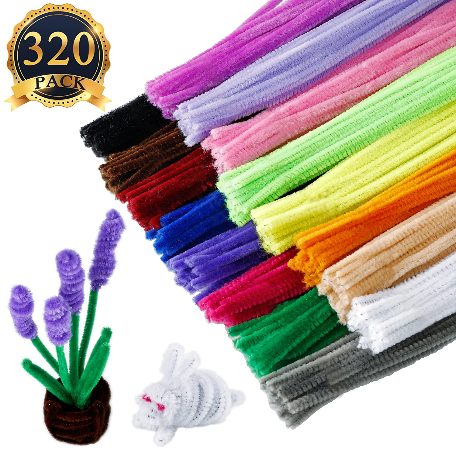 SUBANG 320 Count Pipe Cleaners Pipe Chenille Stem 6 mm x 12 Inch, 16 Colors Available