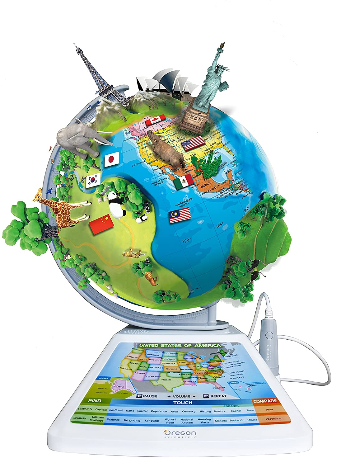Parents as Home or Office Desktop Decoration World Globe Clear Spinning Rotating Globe for Kids 2.25 Inch Crystal Globe of The World with Stand 3.5 Inches Tall Juvale Geography Teachers