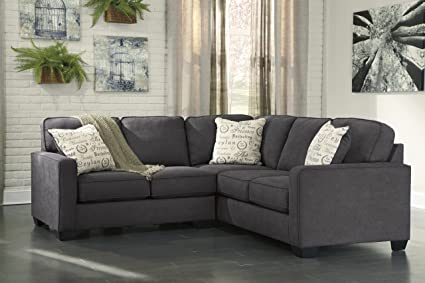 Furnituremaxx Alenya Vintage Casual Charcoal Grey Fabric Left Chaise Sectional Sofa
