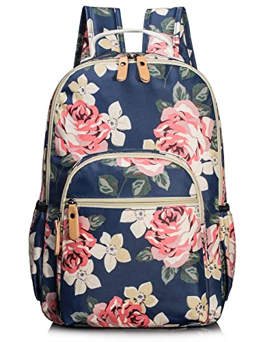 School Bookbags for Girls, Cute Floral Water-resistant Laptop Backpack College Bags Light Daypack by Leaper (Floral Dark Blue)