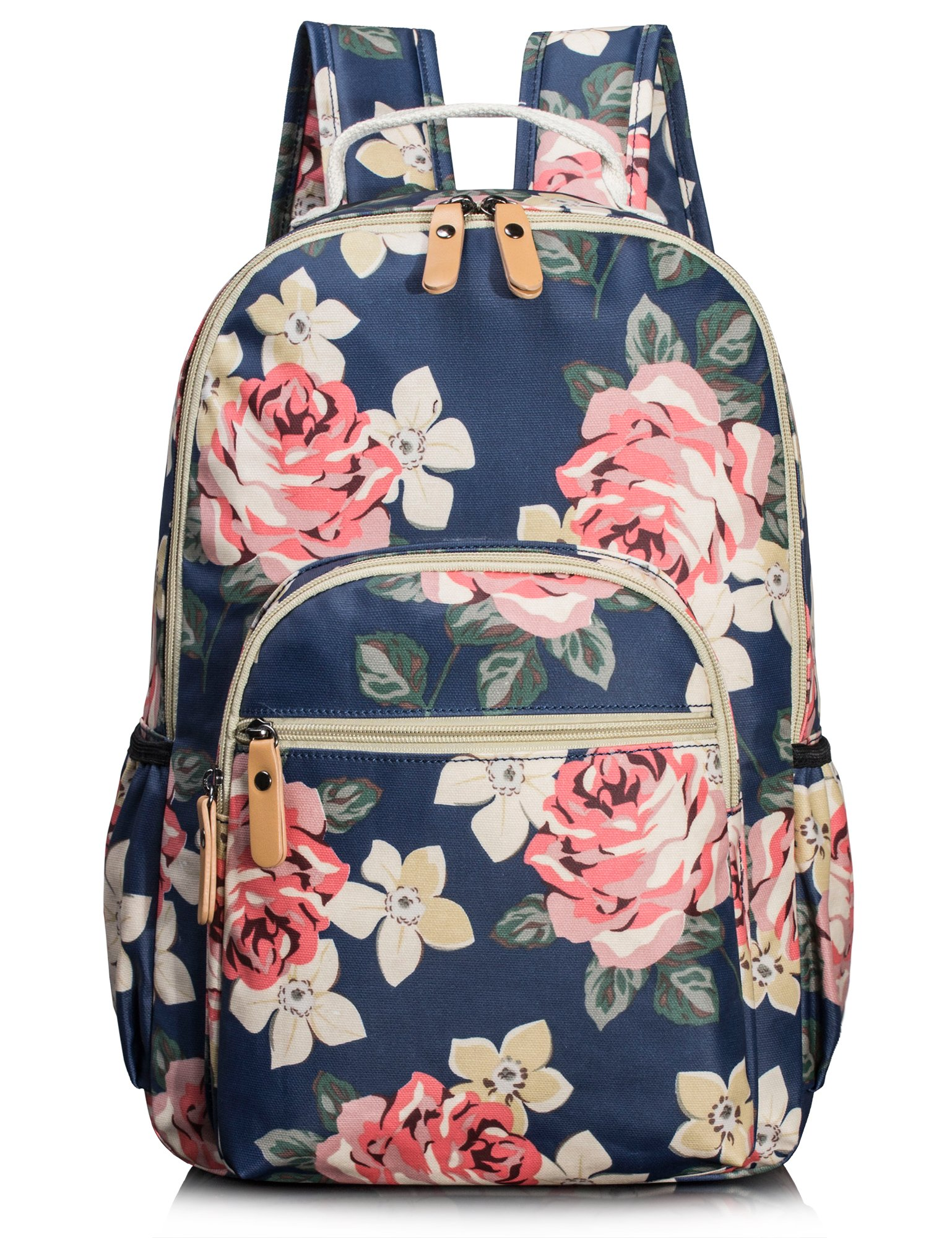 Leaper Floral Water-resistant Laptop Backpack College Bags Daypack Dark Blue by Leaper (Image #1)