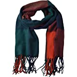 Womens Big Grid Winter Warm Lattice Large Scarf Stylish Plaid Blanket Long Shawl Wrap (Orange-Blue)