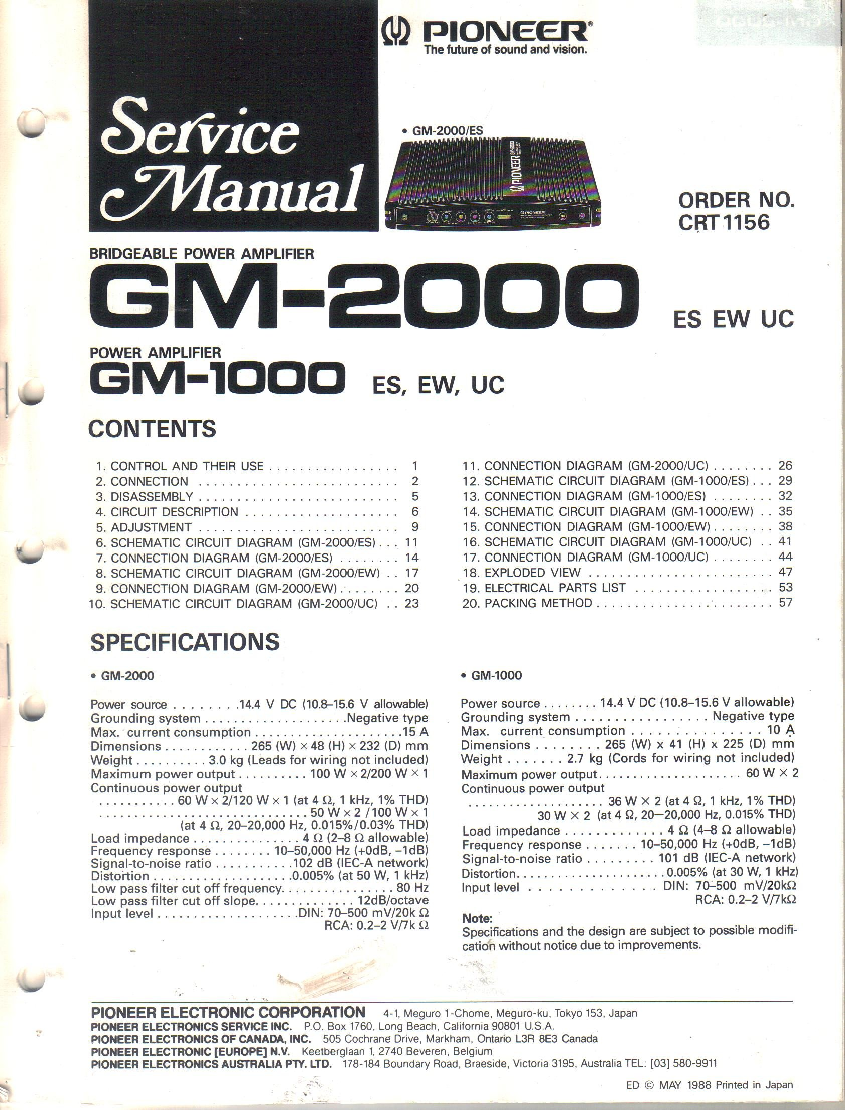 Pioneer Gm 2000 Bridgeable Power Amplifier Service Manual Parts Amp Wiring Diagram List Schematic Electronic Corp Not Stated Books