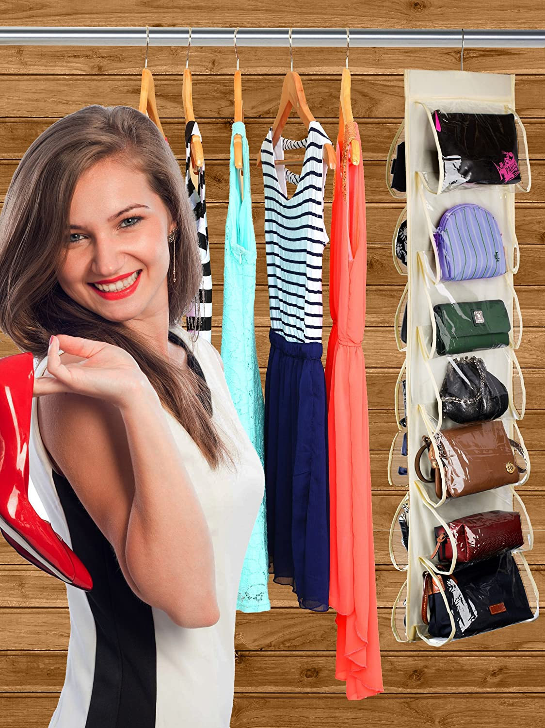 Hanging Shoe Organizer Hang it in a Closet to Keep your Closets Neat and Organized. 14 Pockets Handbags or Purse and Enable you to Find Them Easily The Clear Pockets Will Protect your Shoes