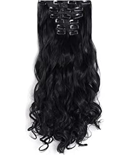 Amazon 15 clip in remy human hair extensions 1b off black onedor 20 curly full head clip in synthetic hair extensions 7pcs 140g 1b pmusecretfo Gallery