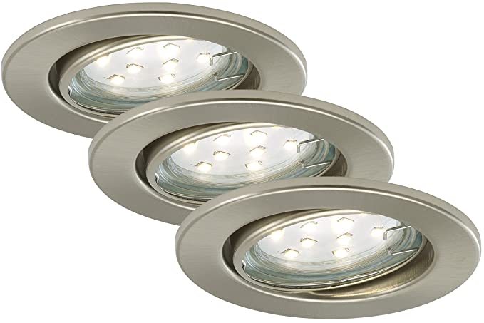 LED Einbauleuchten 3er Set Prisma inkl. GU10 3W LED Leuchtmittel ...