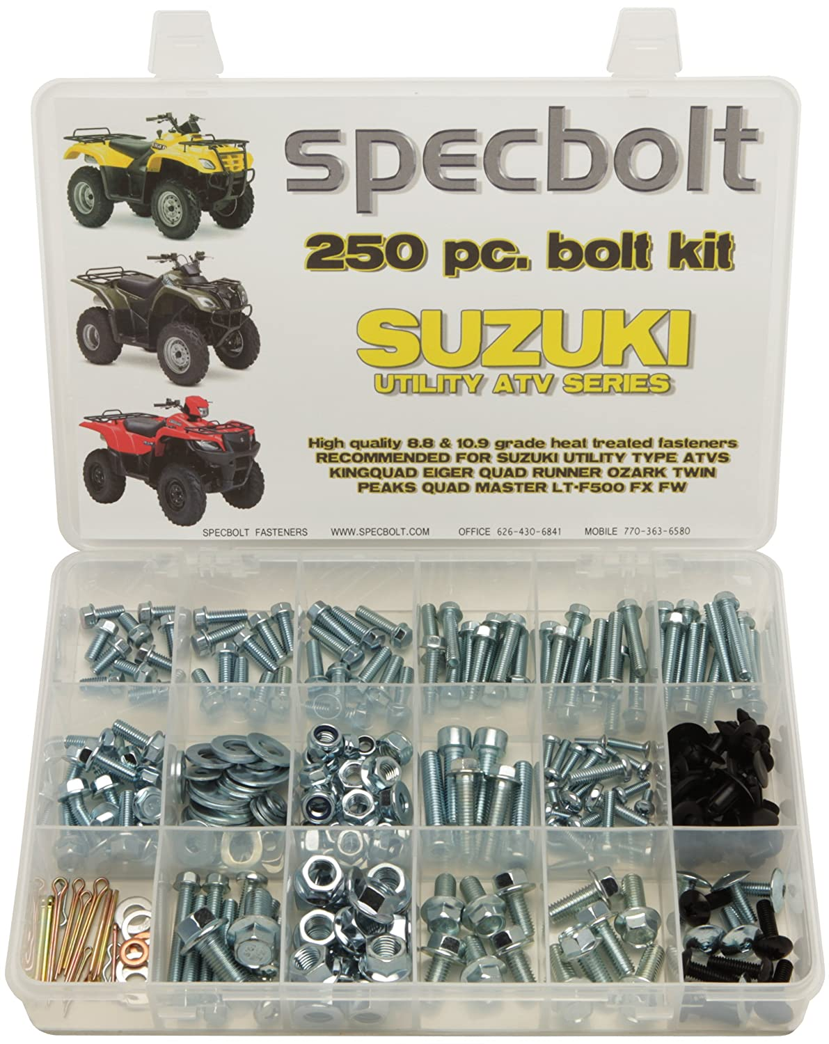 Amazon.com: 250pc Specbolt Suzuki Utility ATV Bolt Kit for Maintenance &  Restoration OEM Spec Fasteners Quad for KingQuad Eiger Quad Runner Ozark  Twin Peaks ...