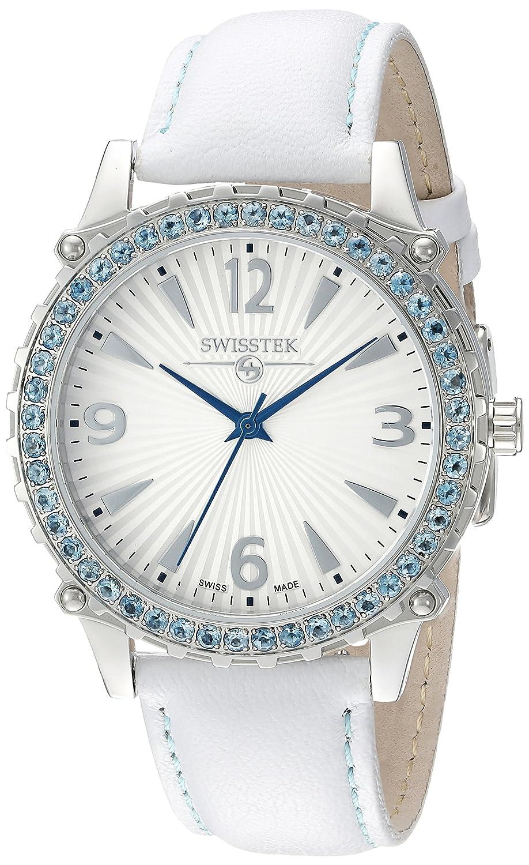 Swisstek Edelstein LÜnette Purus weiß Leder Armbanduhr sk21405l