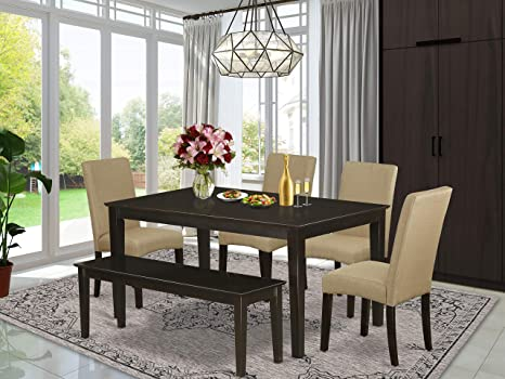 Amazon Com East West Furniture Kitchen Dining Table Set 6 Pc Brown Linen Fabric Kitchen Chairs Cappuccino Finish 4 Legs Solid Wood Rectangular Small Dining Table And Bench Furniture Decor