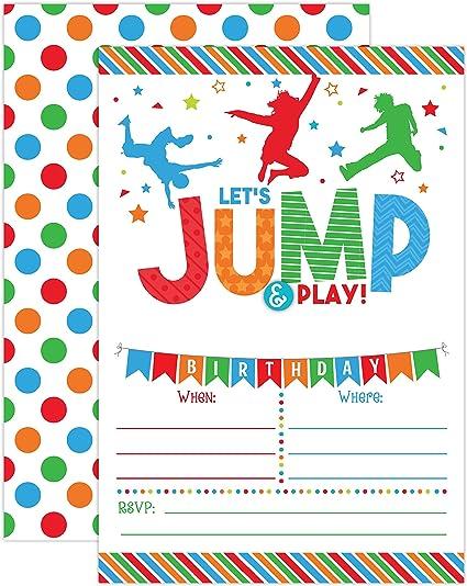 Cute PRINTED Trampoline Bounce Jump Play Party Birthday Invitation Girl Boy Invite