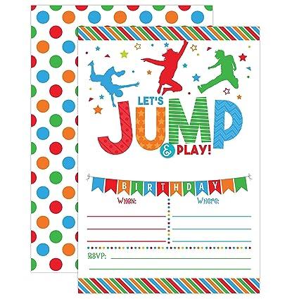 amazon com boy bounce house birthday invitation trampoline jump