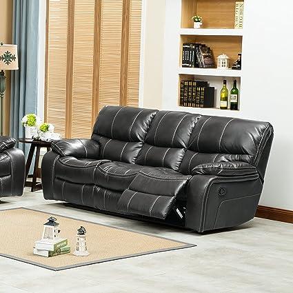 Amazon Com Roundhill Furniture Ewa Leather Air Reclining Sofa Grey