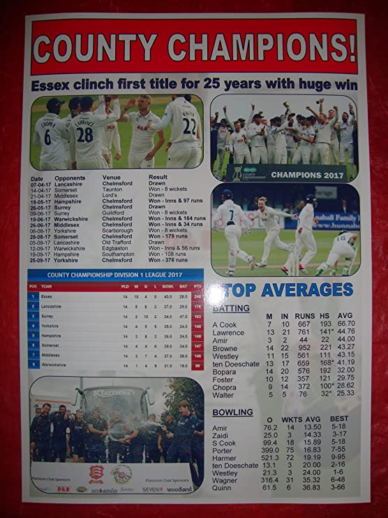 a5d16ebcc447d7 Essex CCC 2017 County Champions - souvenir print  Amazon.co.uk  Sports    Outdoors