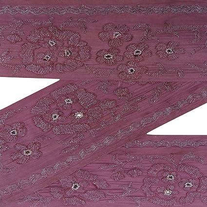 Bordado indio Vintage sari frontera cinta malva vestido Hacer costura 1YD borde