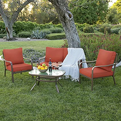 Amazon.com  Best Choice Products 4-Piece Cushioned Patio Furniture Conversation Set w/Loveseat 2 Chairs Coffee Table - Red  Garden u0026 Outdoor & Amazon.com : Best Choice Products 4-Piece Cushioned Patio Furniture ...