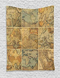 Ambesonne Wanderlust Decor Collection, Collage with Antique Old World Maps Vintage Style Ancient Collection of Civilization Print, Bedroom Living Room Dorm Wall Hanging Tapestry, Multi