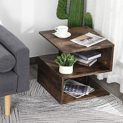 HOMCOM Industrial Modern 3-Tier Side Table or End Desk