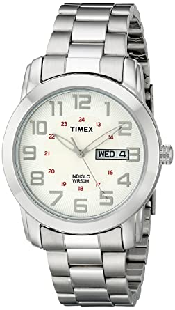Amazon.com  Timex Men s T2N437 Highland Street Silver-Tone Stainless ... 1f7f63e8418