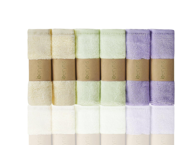 Bambus Baby Waschlappen (6er-Pack) ultra-weich, super absorbierende Handtücher   Schonend auf empfindliche Haut für Säuglinge, Kleinkinder   Natürlich antibakterielle, hypoallergene