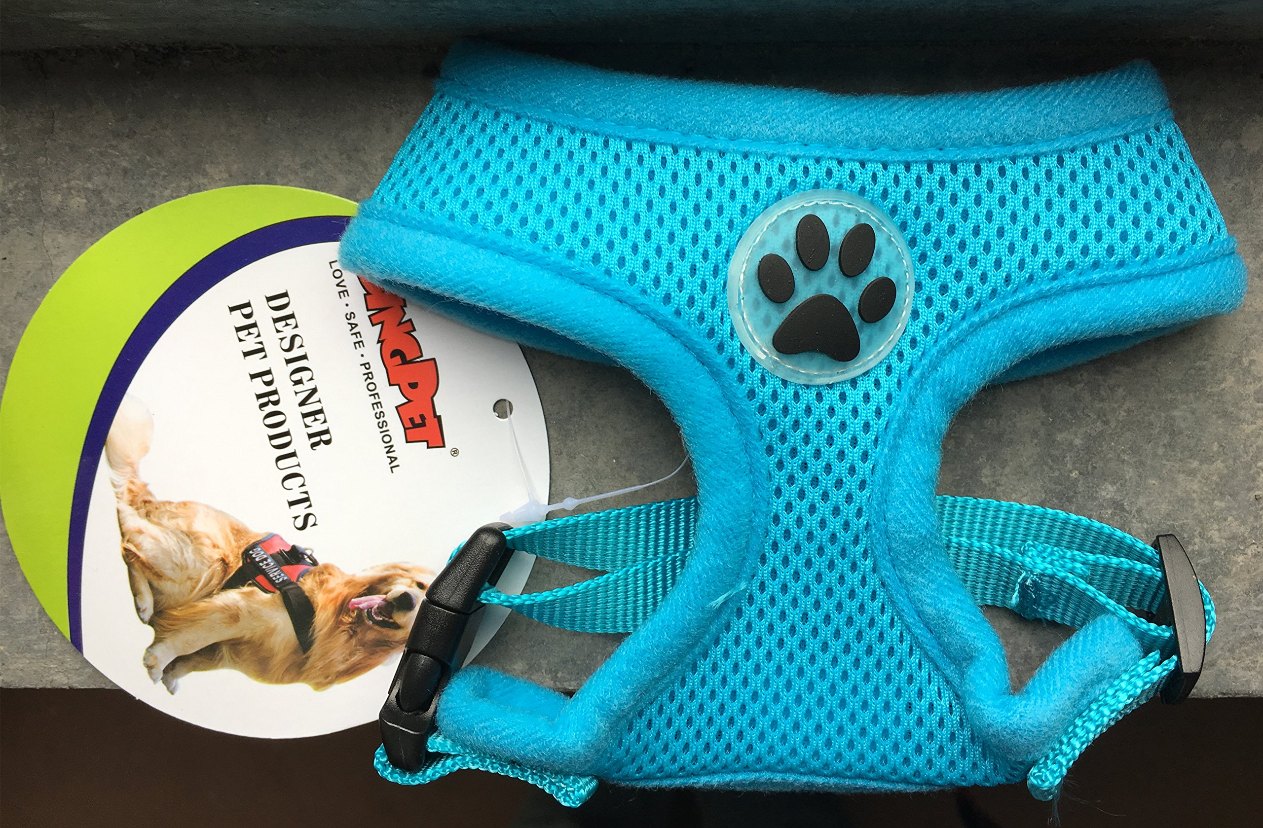 BINGPET BB5001 Soft Mesh Dog Harness Pet Walking Vest Puppy Padded Harnesses Adjustable, Blue Large by BINGPET (Image #7)