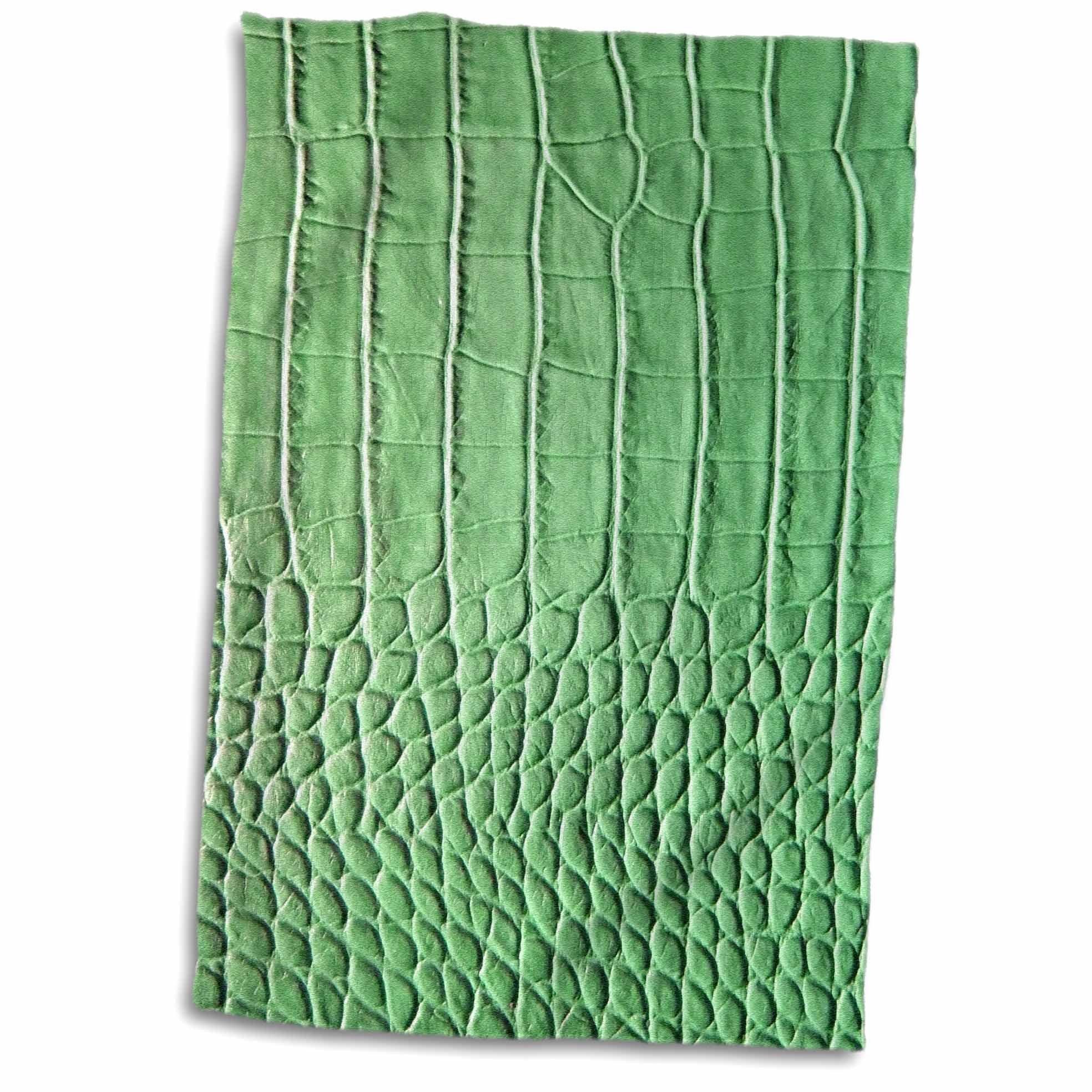 3D Rose Green Crocodile Skin Photo Print - Macro Photography Aligator Animal Texture - Reptile Lizard Scales Towel, 15'' x 22'', Multicolor