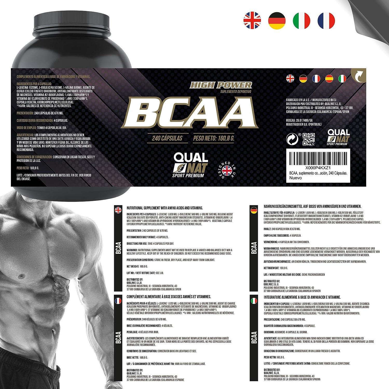 BCAA con Vitaminas B2 B6 | Aumenta Masa Muscular y Quema Grasas | Suplemento Deportivo 100% Natural | 240 Cápsulas: Amazon.es: Salud y cuidado personal