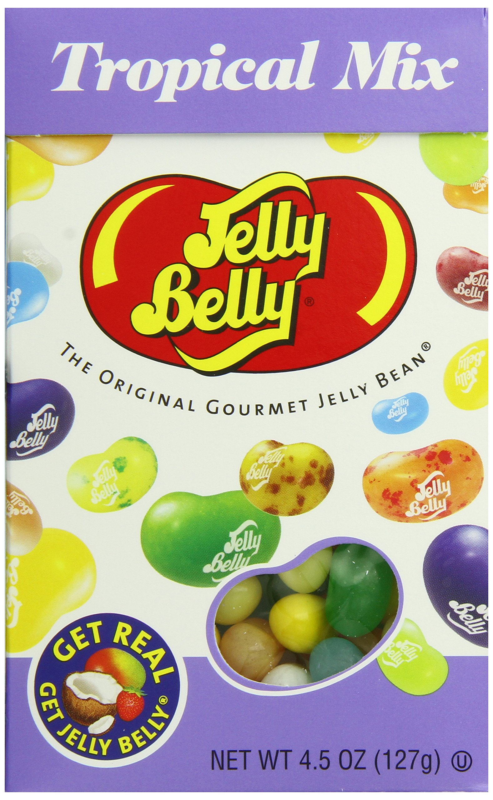 Jelly Belly Tropical Mix Jelly Beans, 16 Flavors, 4.5-oz Flip Top Box, 12 Pack