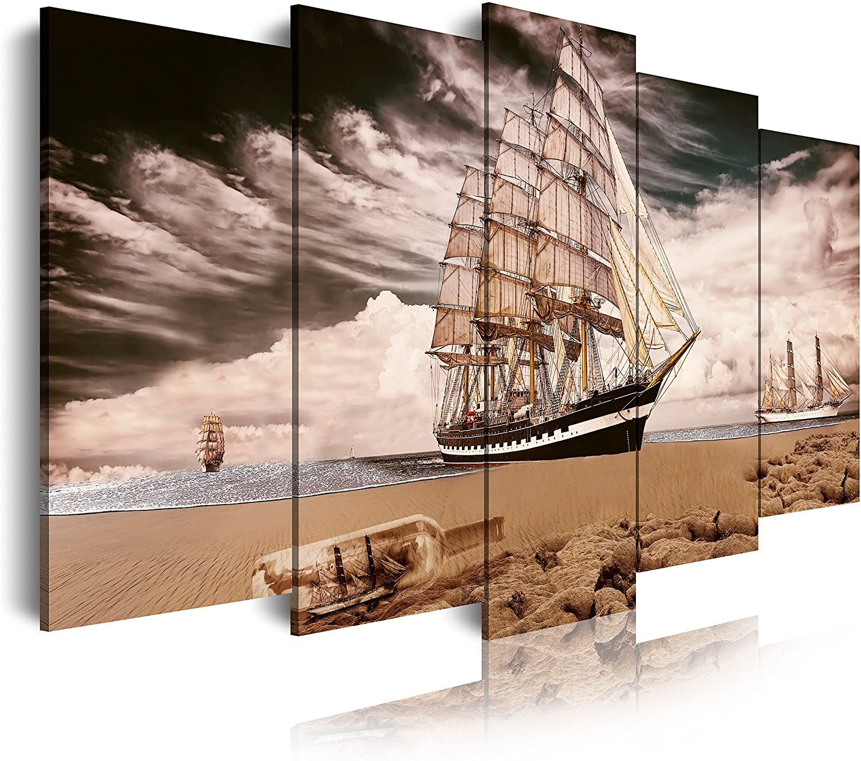 DekoArte - Cuadros Modernos Impresión de Imagen Artística Digitalizada | Lienzo Decorativo Para Tu Salón o Dormitorio | Estilo Paisaje con Barco Velero En Playa con Tormenta | 5 Piezas 150 x 80 cm