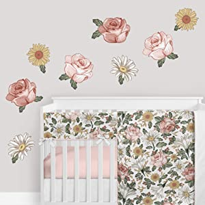 Sweet Jojo Designs Vintage Floral Boho Peel and Stick Wall Decal Stickers Art Nursery Decor - Set of 4 Sheets - Blush Pink, Yellow, Green and White Shabby Chic Rose Flower Farmhouse