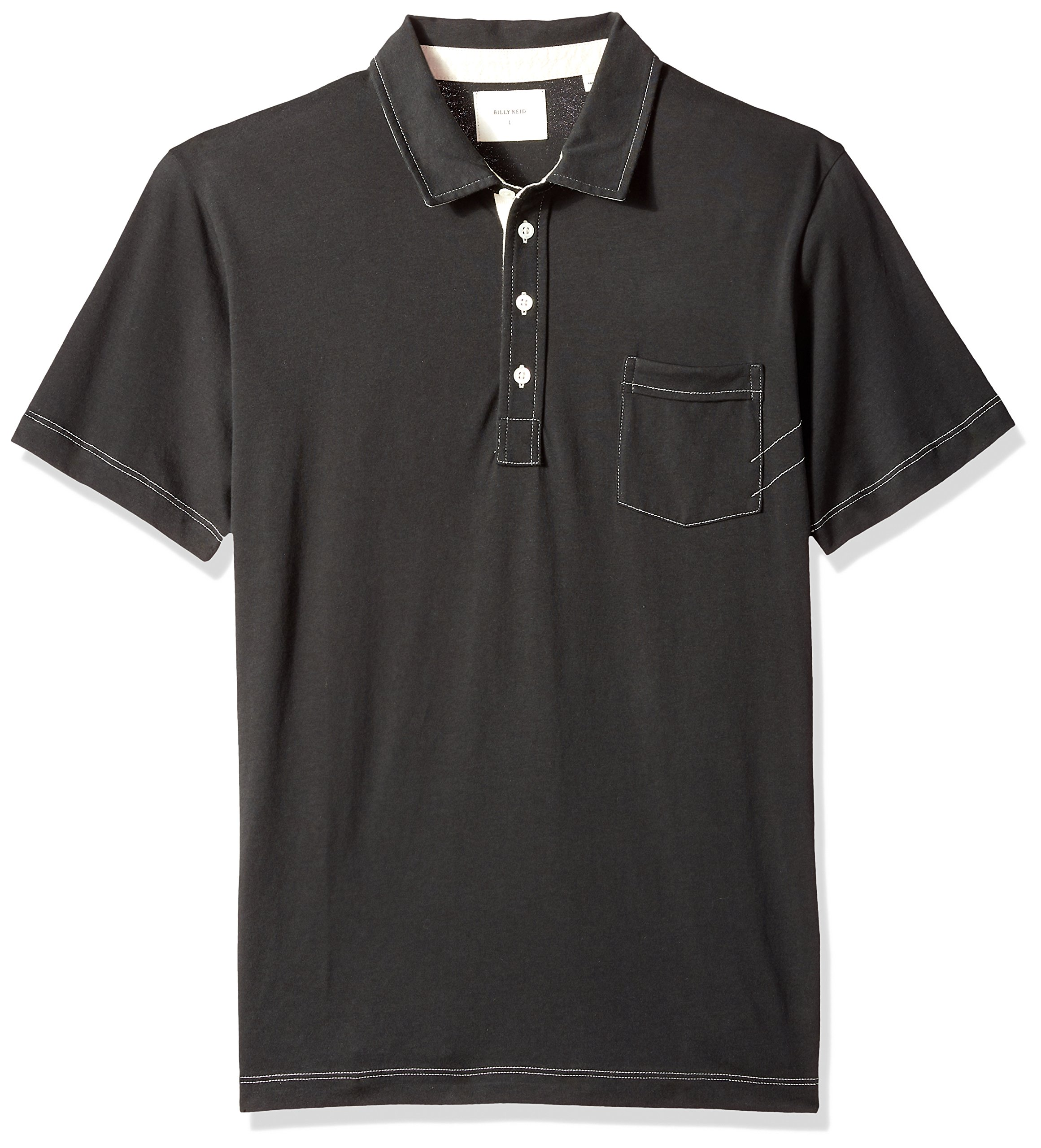 Billy Reid Men's Short Sleeve Pensacola Polo With Pocket, Black Solid, Large