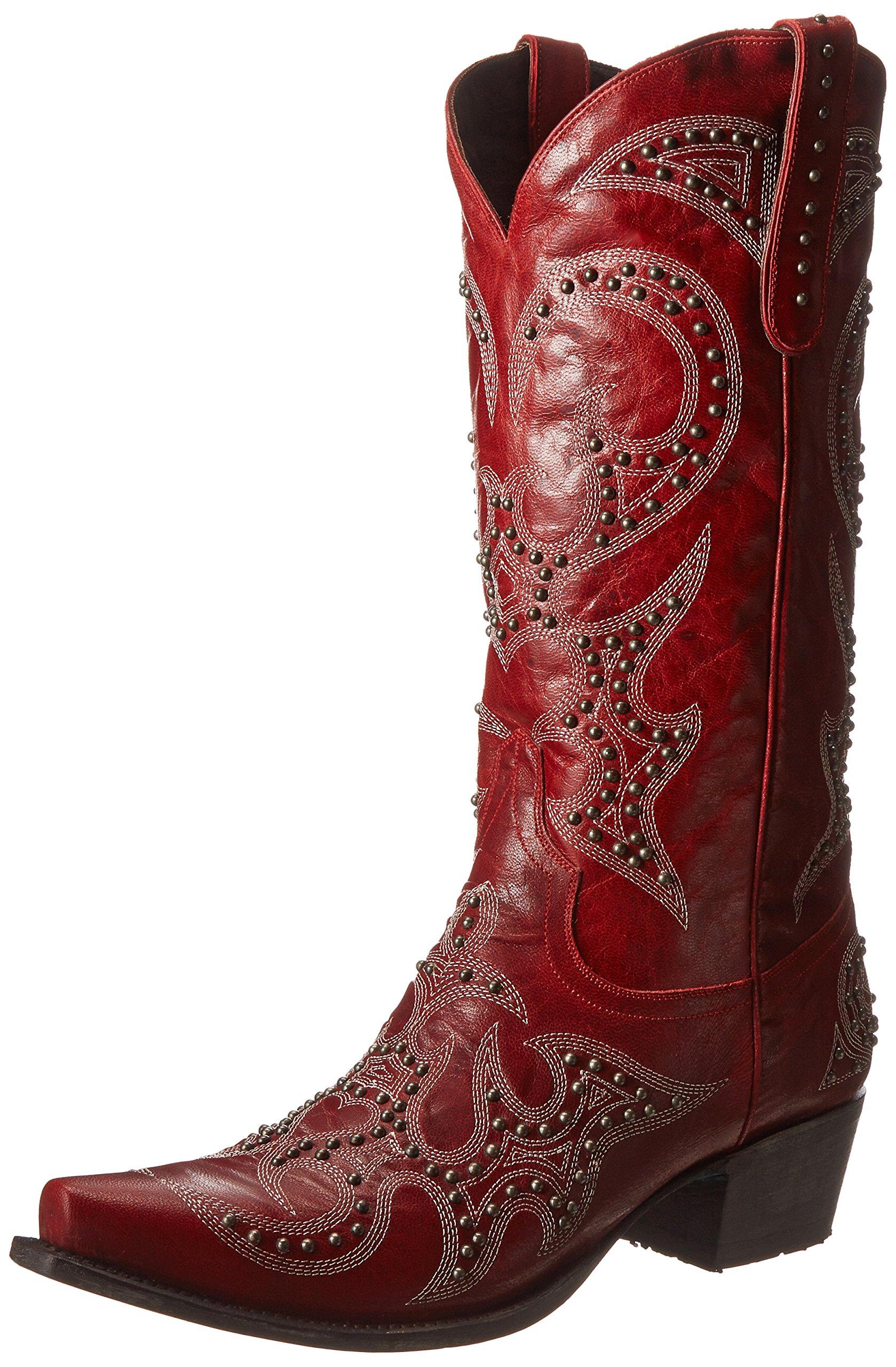 Lane Boots Women's Lovesick Stud Western Boot,Red,7.5 B US