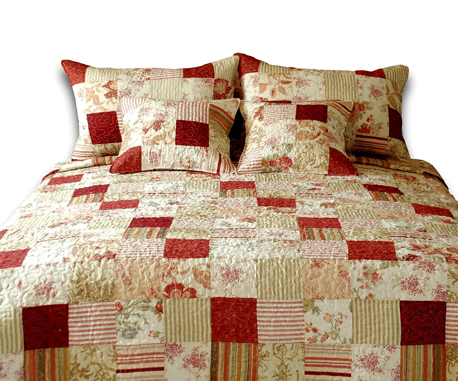 Tache Home Fashion Strawberry Field Cottage Floral Patchwork Quilt Bedspread Set, Twin, Red