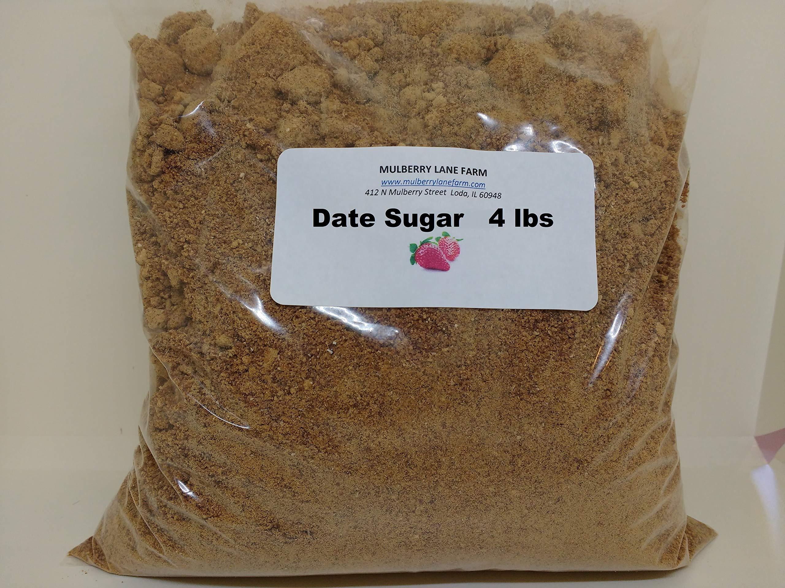 Date Sugar 4 Pounds All Natural, Non-GMO, Healthy Sugar Alternative Bulk by Mulberry Lane Farms
