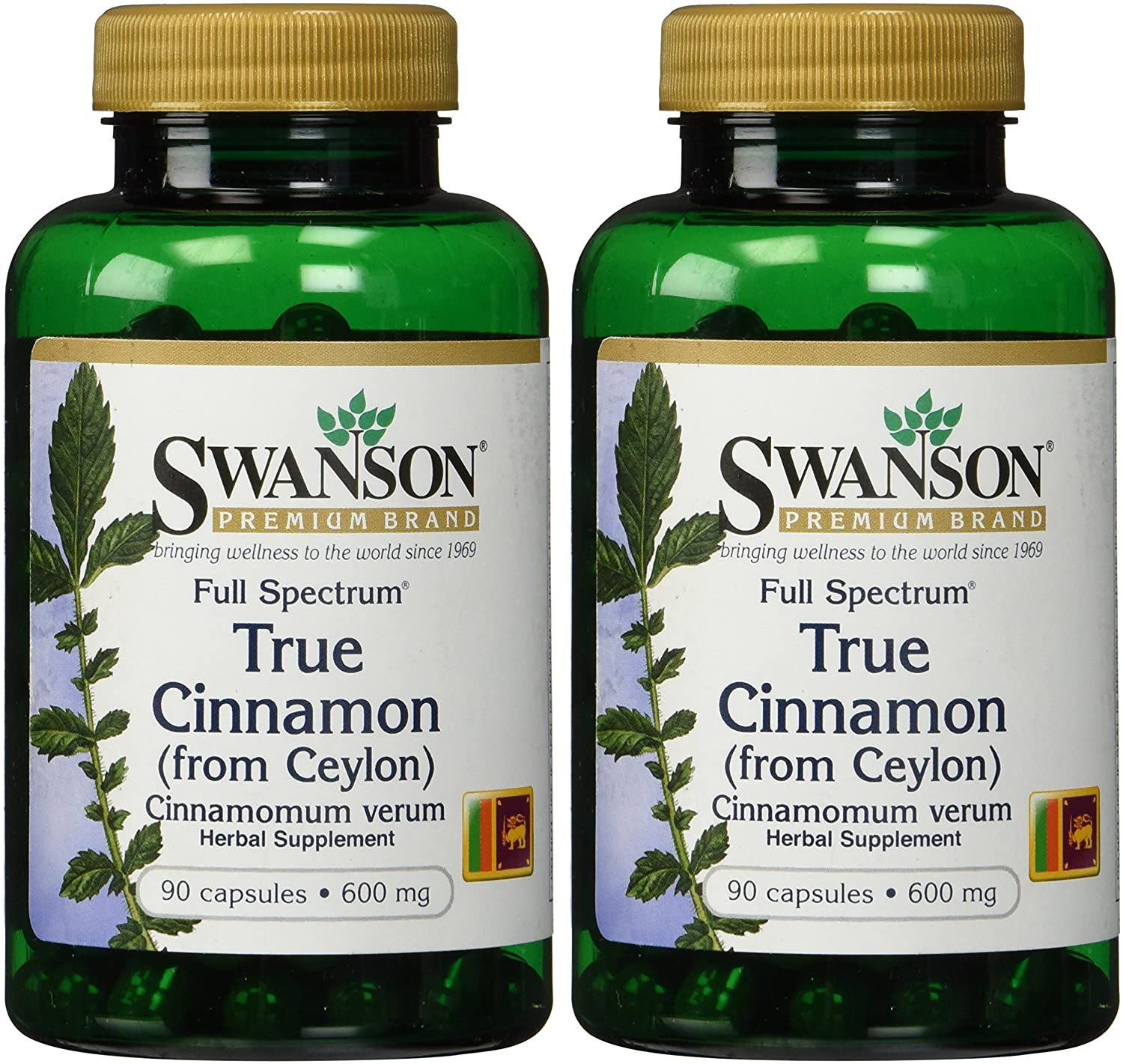 Swanson Premium Brand True Cinnamon 600mg — 2 Bottles each of 90 Capsules