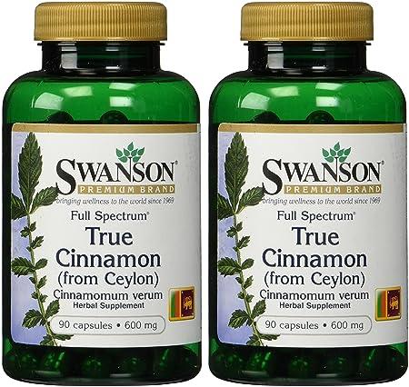 Swanson Premium Brand True Cinnamon 600mg — 2 Bottles each of 90 Capsules