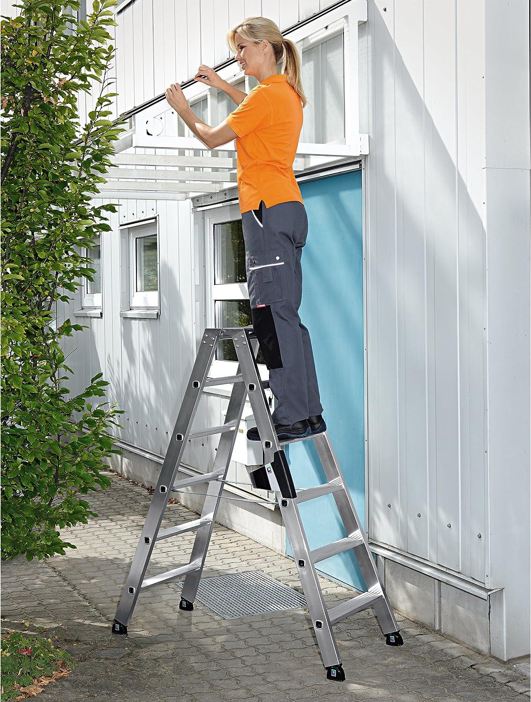 3,00 m Aluminium-Stufen-Stehleiter beidseitig begehbar 2 x 6 Stufen Arbeitsh/öhe bis ca